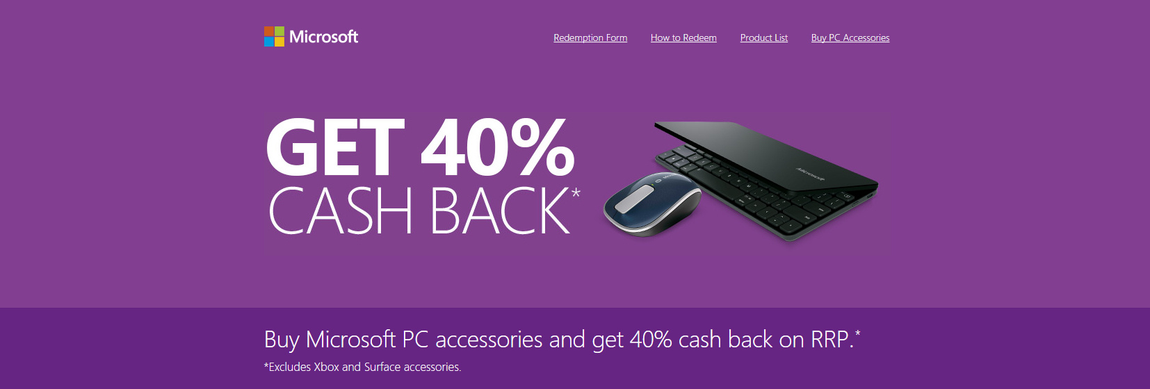 购买Microsoft PC accessories 40% Cash Back