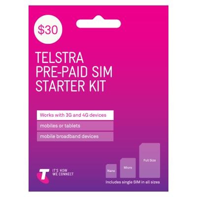 Telstra $30 Prepaid 手机卡只需 $10 Online + Free Delivery