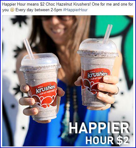 一杯 Choc Hazelnut Krushers 只需$2 !