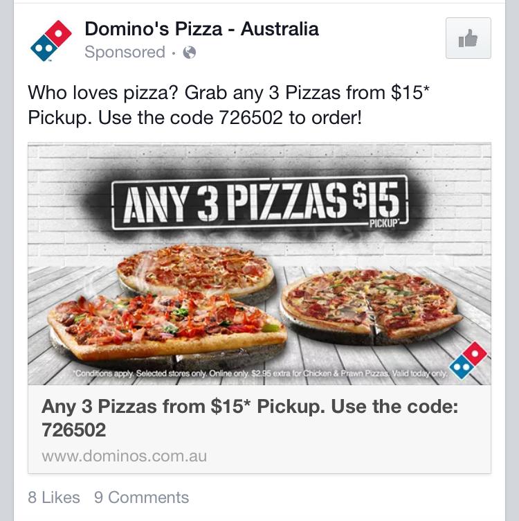 Dominos 任意三个披萨只需$15 (自取)