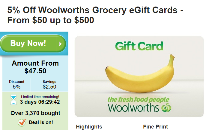 Woolworths  Grocery eGift Cards 5%OFF!