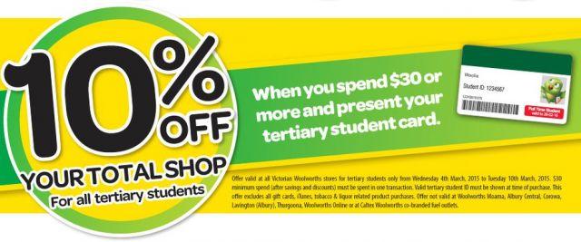 维州地区大学生在Woolworths 购买30块以上可享10%OFF