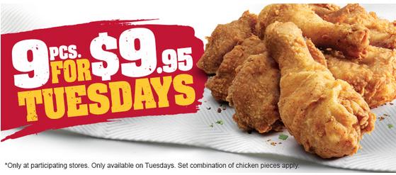 KFC 9块鸡块只要$9.95!