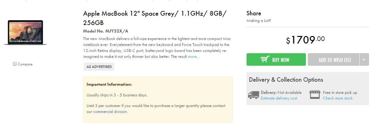 苹果MacBook 12″ 笔记本电脑,the Good Guys 售价$1709,比官网便宜90块!