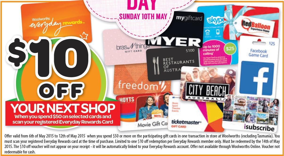 在Woolworths 购买$50的购物卡,下次在Woolworths购物时可以省$10!