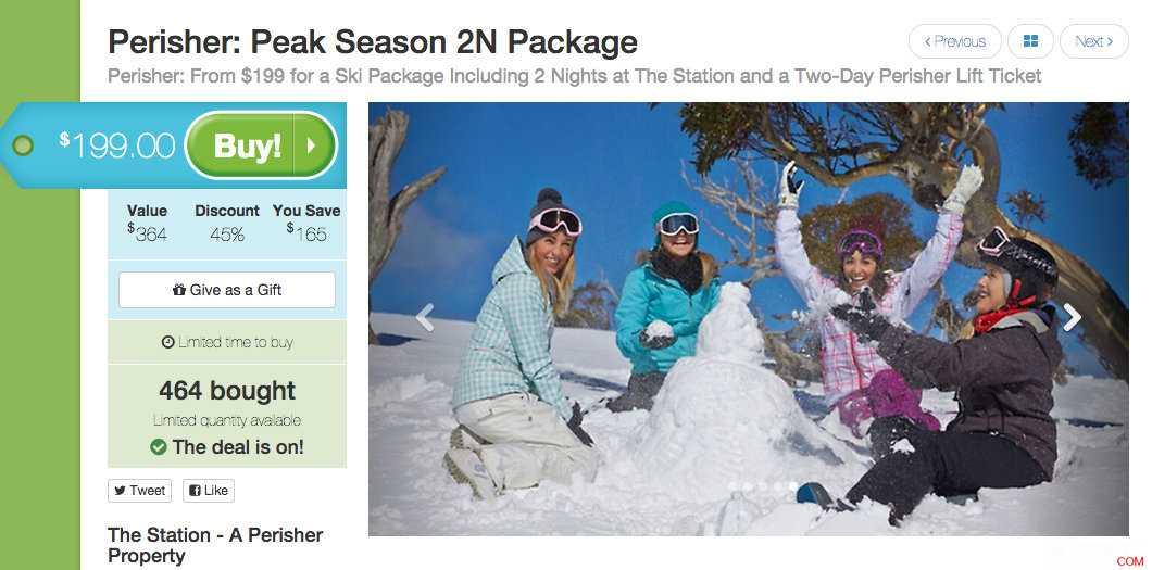 价值$364的两天滑雪套餐(两晚住宿+两天的索道票),团购价每人只要$199