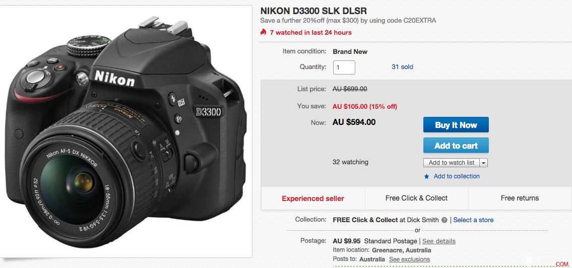 Nikon D3300 原价$699,现价$594,使用折扣码后只要$475.2!