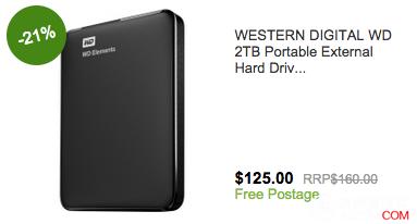 西部数据 2TB 便携式移动硬盘,原价$160, 现价$125!