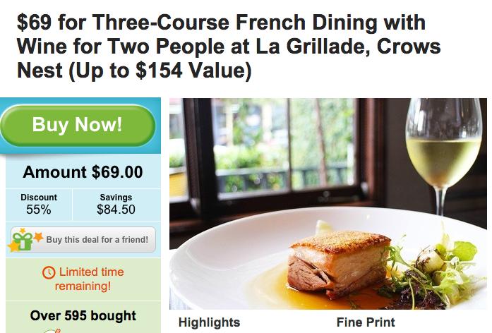 La Grillade 法式晚餐:3道菜+红酒两人餐,原价$153.50,团购价只要$69!