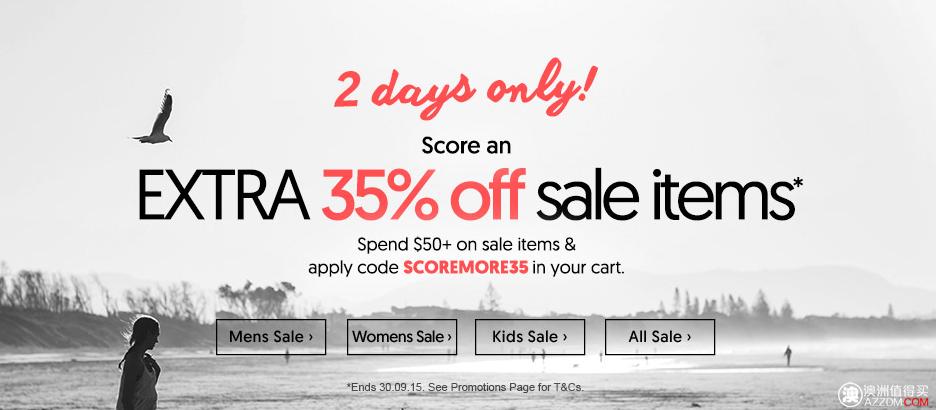 澳洲体育用品及服装网站 SurfStich 特价活动:打折商品购满$50,可额外再减35%!
