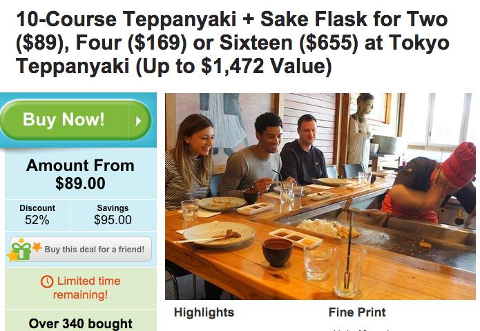 10道日式铁板烧+米酒 两人餐原价$184,团购价只要$89!