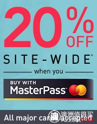 澳洲特卖网站 OO.com.au 全网所有商品,使用MasterPass支付,均可立减20%!