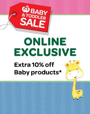 Woolworths 婴幼类商品购物满$30,可额外减10%!