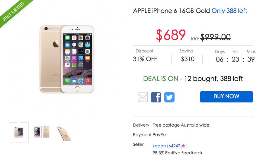金色 iPhone6 16GB,Ebay 团购价只要$689!