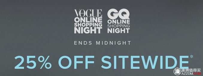 The Iconic Vogue & GQ 网上购物夜活动:全网所有商品购物满$125,使用折扣码后可25%OFF!