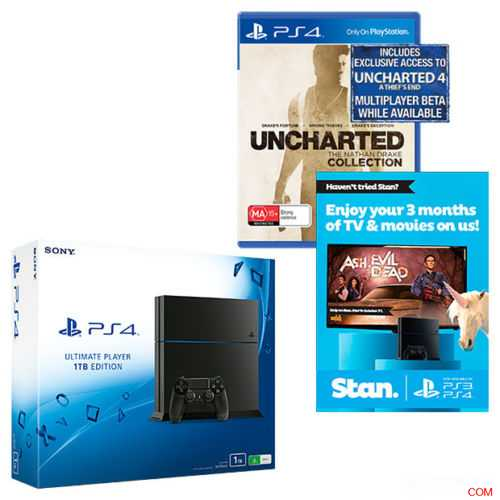 Target Ebay 店,PlayStation 4 1TB 主机, Uncharted & Stan 3 Month Voucher 套装,原价$549,