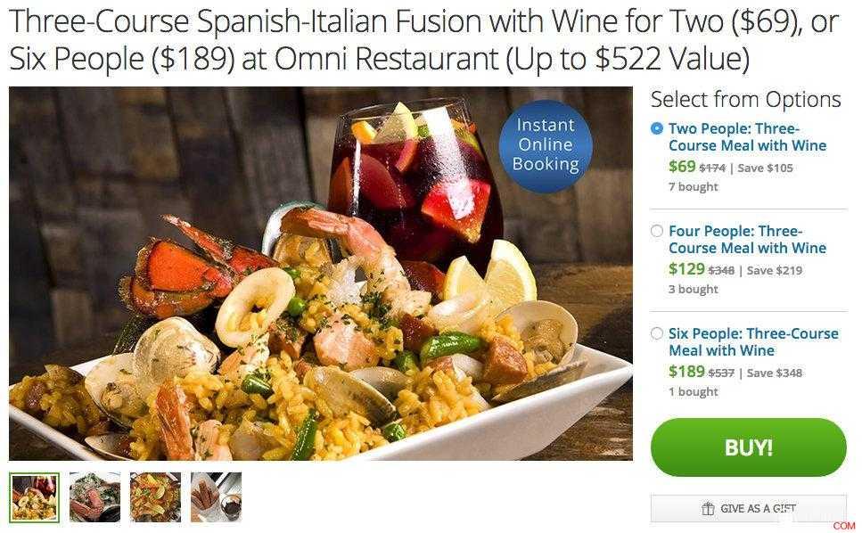 西班牙—意大利 融合餐厅,三道菜 + 红酒两人餐,原价$174,团购价只要$69,使用折扣码后还能再减10%!