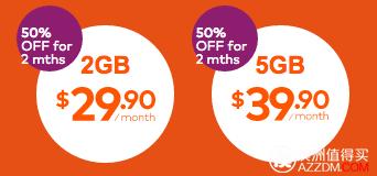 Amaysim 澳洲境内无限通话&短信 + 2GB/5GB 流量套餐,每月分别只要$29.9/$39.9