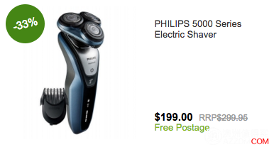 Philips S5620/41 电动剃须刀,原价$299,现价$199