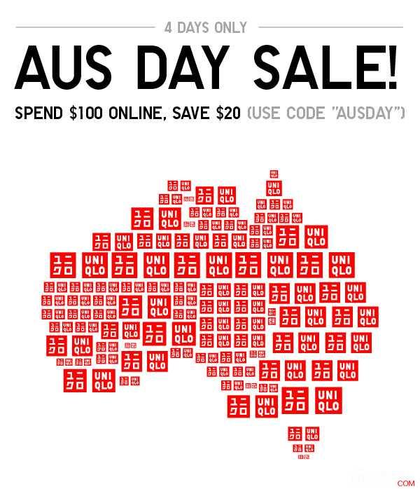 优衣库 UNIQLO 澳洲国庆节活动:购物满$100,立减$20!