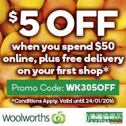 首次在 Woolworths Online 购物满$50,可减$5!