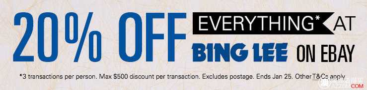 澳洲电器及电子产品专卖商家Bing Lee Ebay 店 所有商品八折优惠!