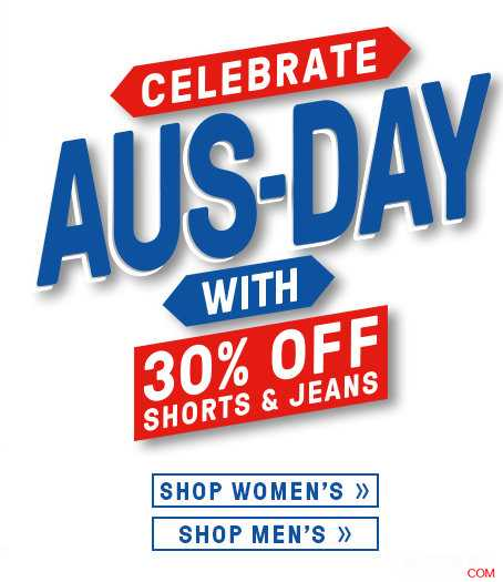 Just Jeans 澳洲国庆节 活动:短裤及牛仔服饰 30%OFF!