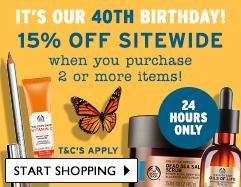 The Body Shop 周年庆活动:购物两件以上 可享八五折优惠!