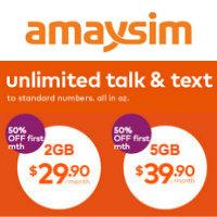 Amaysim 澳洲境内无限通话+短信 2GB流量套餐$29.9 5GB流量套餐$39.9!
