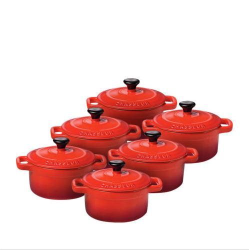 Chasseur珐琅铸铁小烤锅六件套 折后包括邮费只要$69!