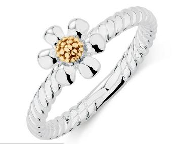 10ct标准黄金纯银菊花戒指指环 仅售$99