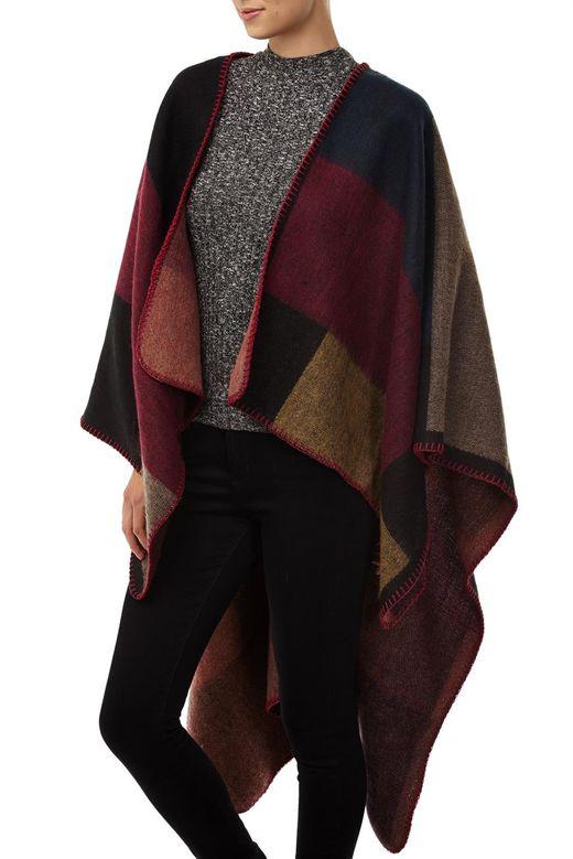 Blanket Cape 大毛毯式拼色斗篷披风披肩$29.95
