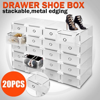 多功能透明鞋盒20只装 现价$38.95!