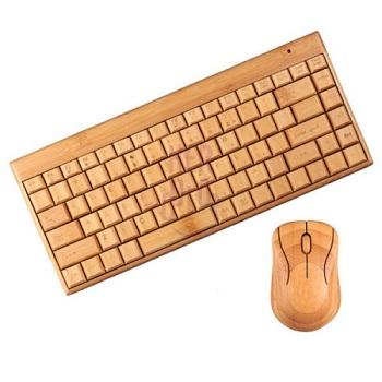 竹制2.4 GHz无线键盘和鼠标套装 现价$75!