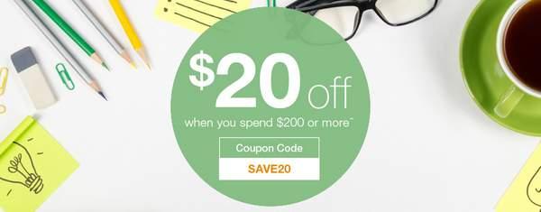 办公用品专卖网站 Staples 购物满$200 立减$20!