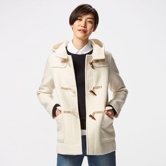 优衣库 Uniqlo 女式短款羊毛混纺风帽牛角扣大衣 $149.9