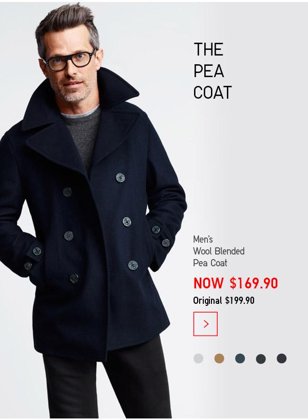 优衣库 Uniqlo 男式短款羊毛混纺海军呢大衣 $169.9!