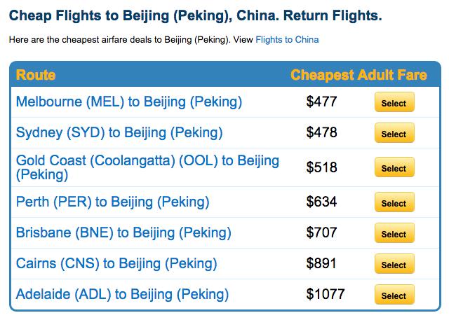 墨尔本/悉尼 至北京/上海的往返机票仅从$477起!