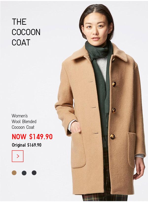 优衣库 Uniqlo 女式长款羊毛混纺茧型大衣 $149.9!