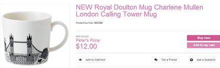 新Royal Doulton伦敦电话塔花纹杯子 现价.00