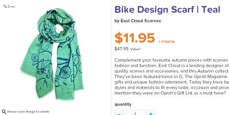 East Cloud 围巾自行车简约图文围巾 $11.95