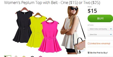 时尚女装peplum多色吊带短裙 团购价一件$15!
