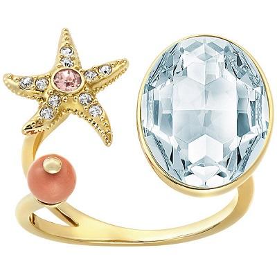 Swarovski 施华洛世奇海星水晶镀金开口戒指 现价$74.5!