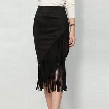 流苏麂皮铅笔裙  一件$29!