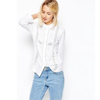 ASOS蕾丝拼接白衬衫 现价$49!