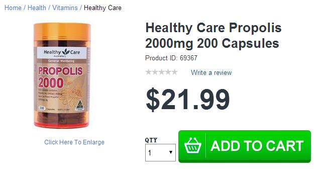 Healthy Care 蜂胶胶囊 现价$21.99!