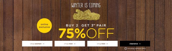 休闲鞋类品牌 Crocs 冬季活动:第三件商品可享二五折优惠!