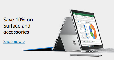 微软澳洲官网 Surface 系列产品九折优惠! 包括Surface Book/Surface Pro 4 及配件等
