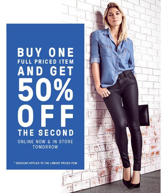 Just Jeans 全价商品 第二件半价优惠!