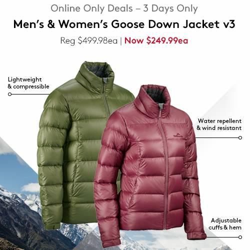 Kathmandu 男子/女子鹅绒羽绒夹克 现价$249.99!